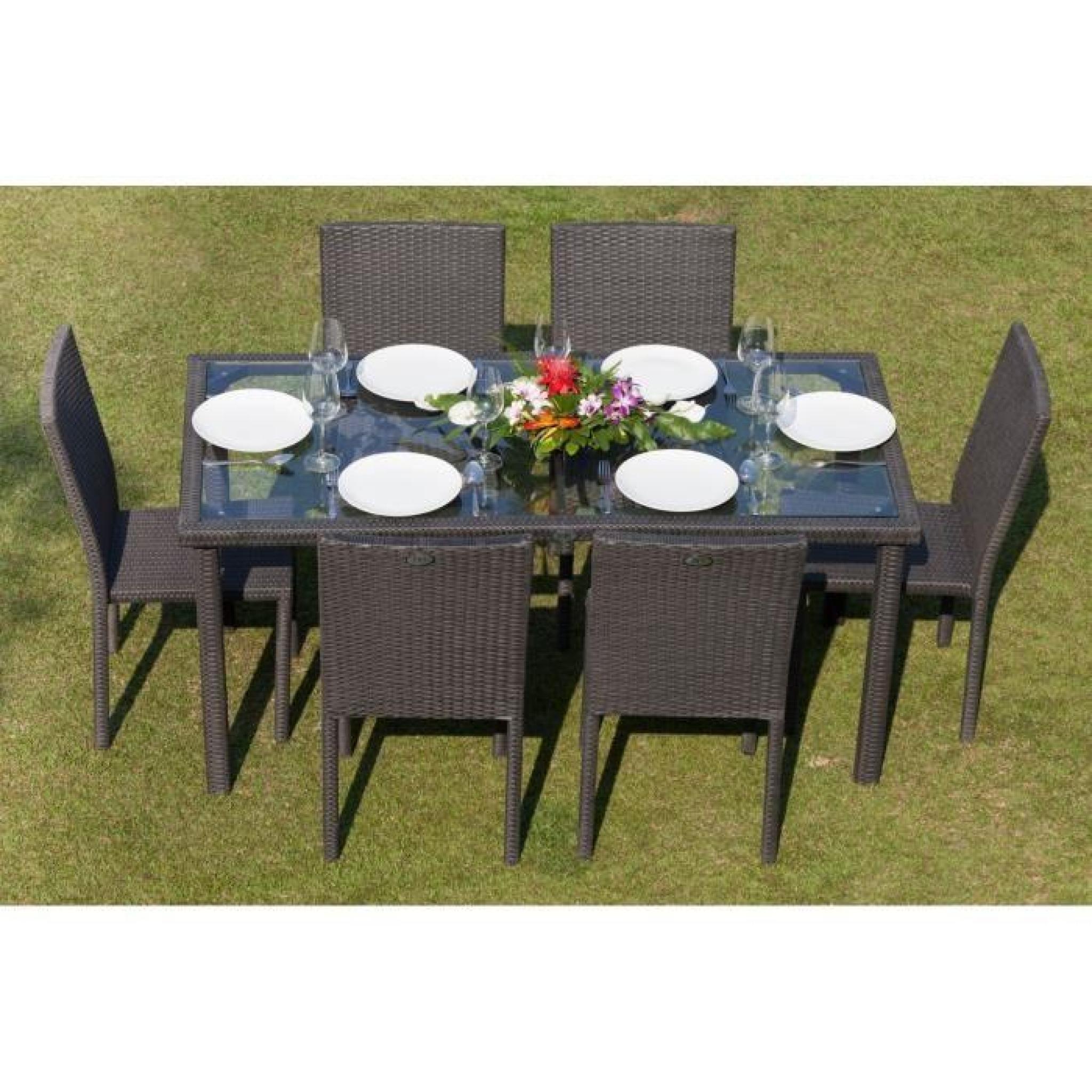 arcachon ensemble table de jardin 6 places acier e 4