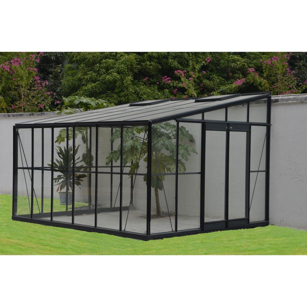 serre adossee en verre trempe solarium 1185 m2 grise chalet jardin 2