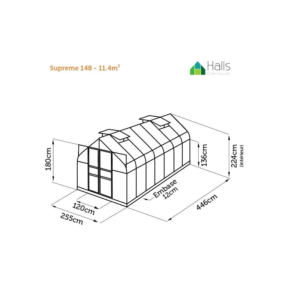 serre de jardin supreme verre trempe 113m2 halls 12