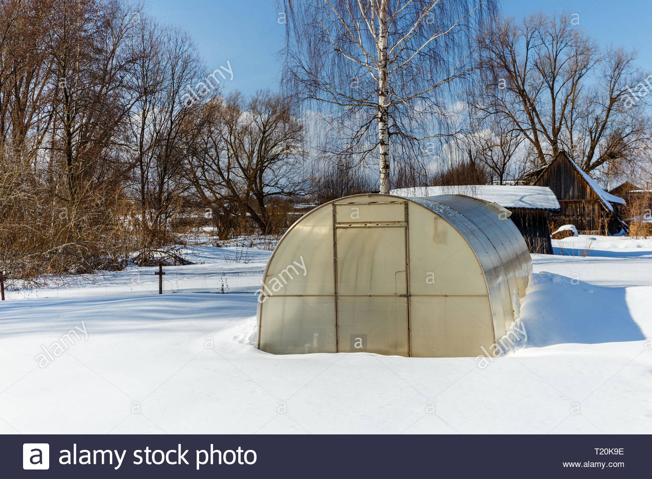 small greenhouse with a metal frame covered with polycarbonate in a winter garden greenhouse in winter T20K9E
