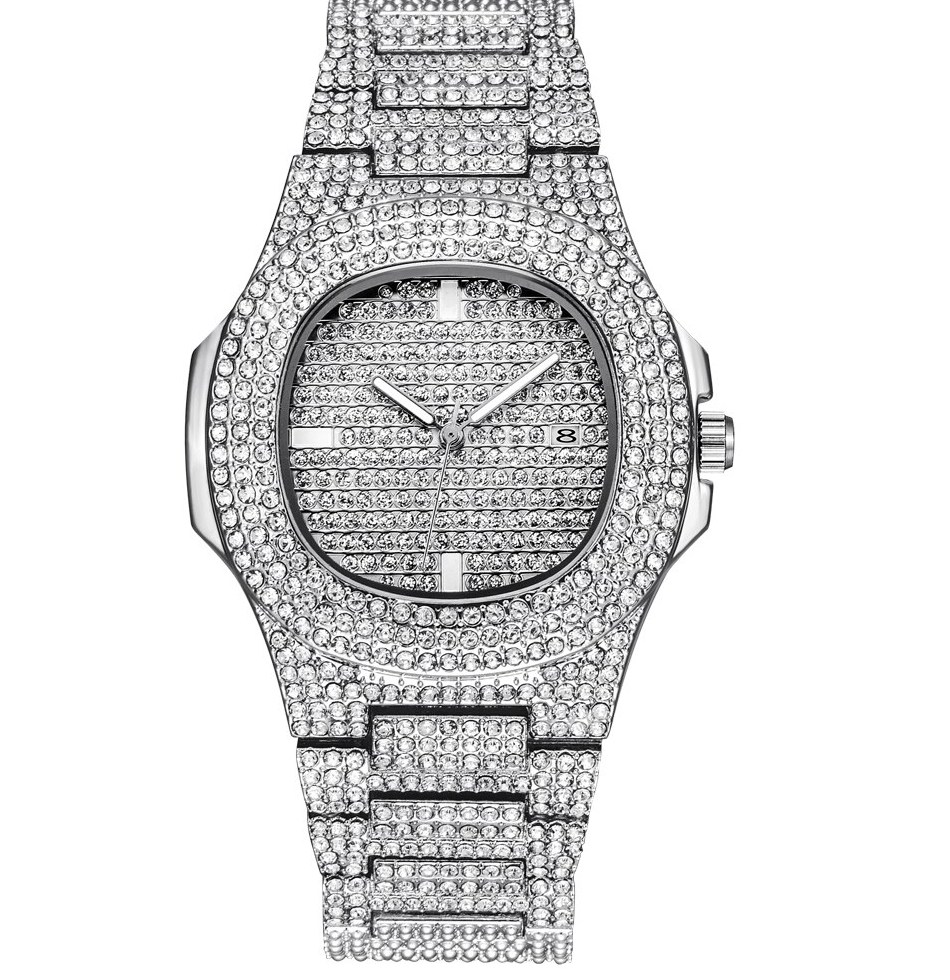 Mens font b Watches b font Top Luxury Brand Full Steel Rhinestone Dourado Quartz Wristwatch Fashion