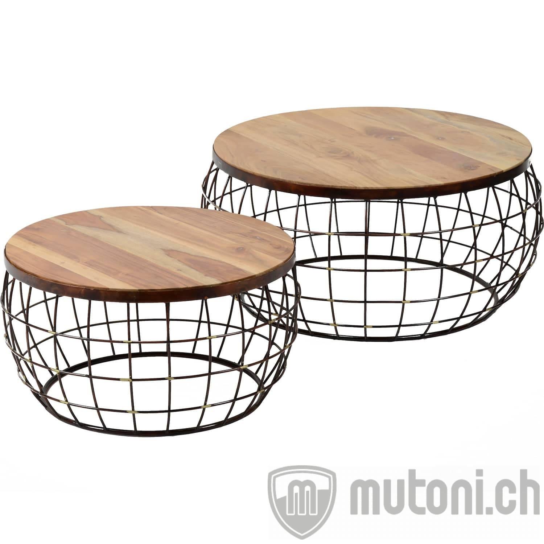 Couchtisch Satz2 Holz TischplatteDraht Kupfer antik finish 3492 32A 425 wwm