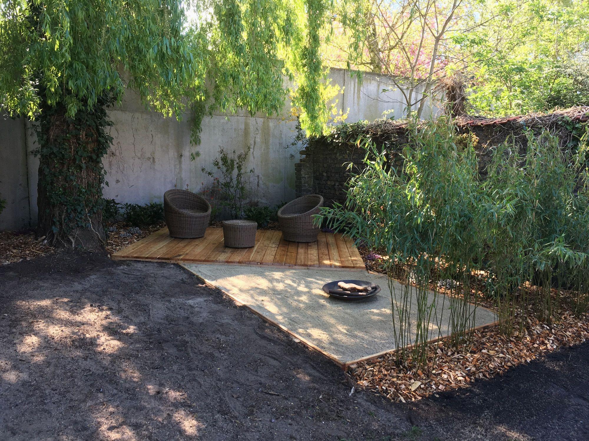 espalier bois jardin superbes terrasse avec espace brasero de espalier bois jardin