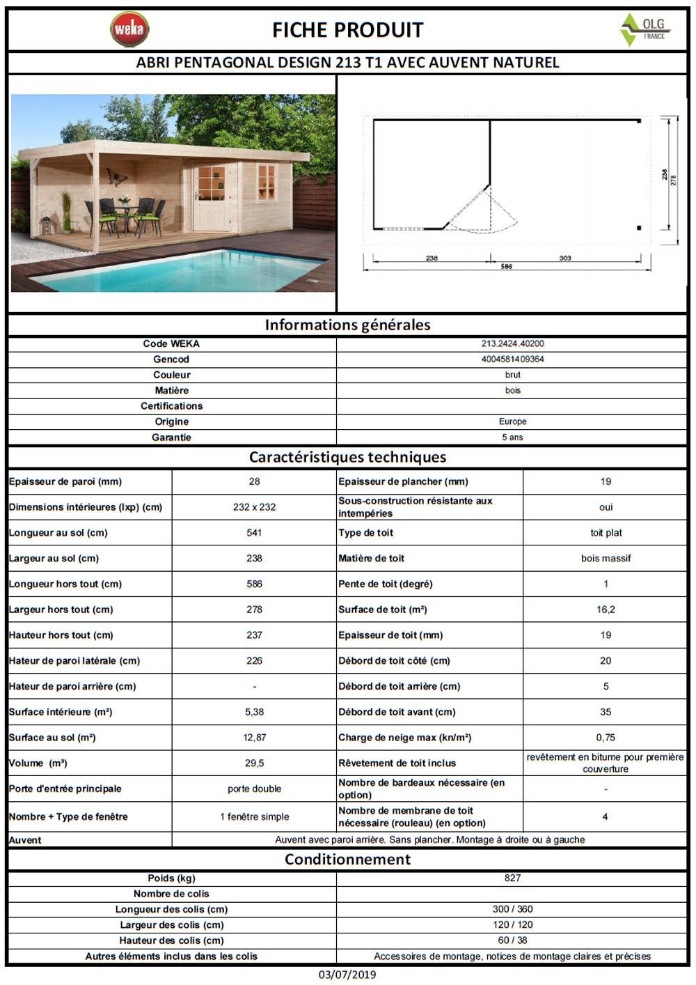 abri de jardin design weka 213 28mm 566m avec auvent 300 cm 238x541 cm