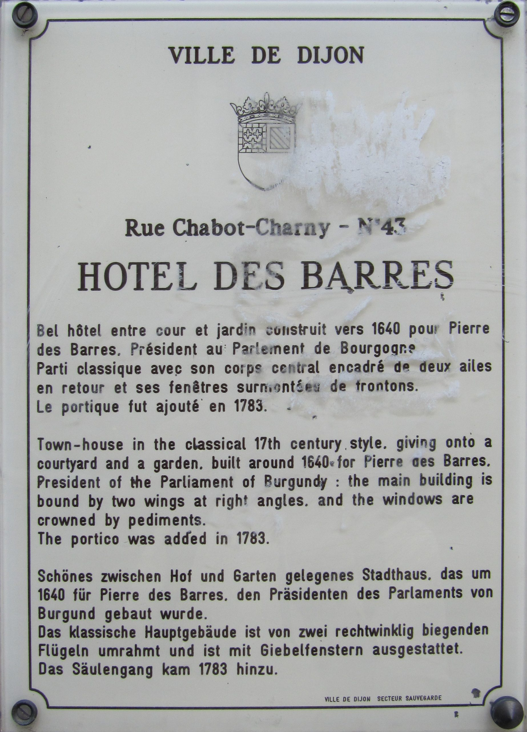 Entre Cours Et Jardin Charmant File Dijon Hotel Des Barres Plaque Information