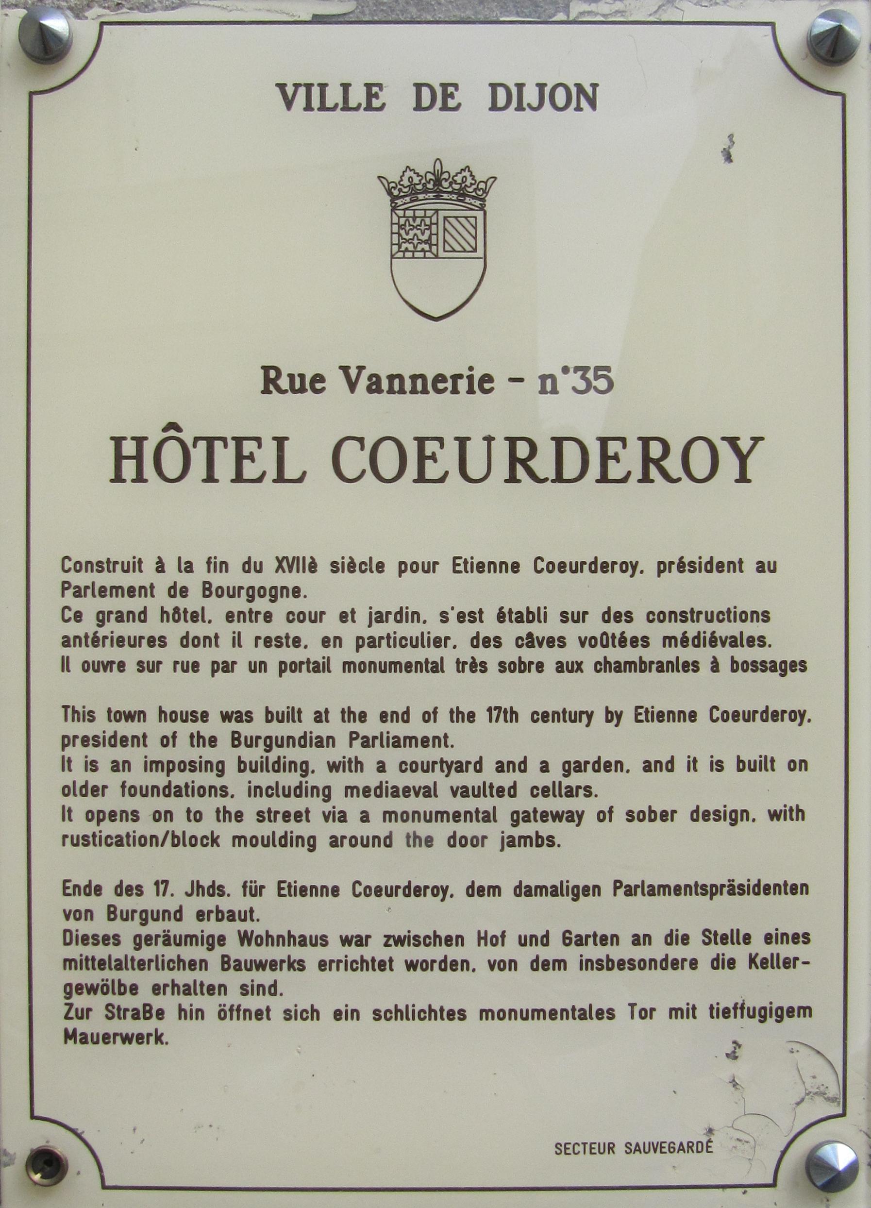 File Dijon Hotel Coeurderoy plaque information