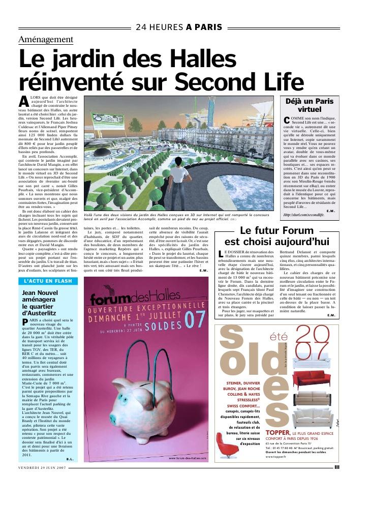 pourquoi tu cours et le jardin des halles a paris article du parisien 1 728