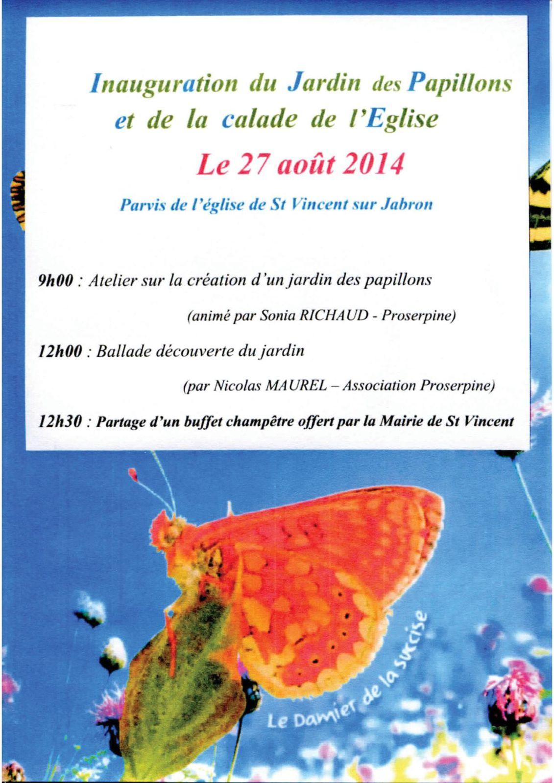 2014 08 27 Affichette Inauguration jardin des papillons