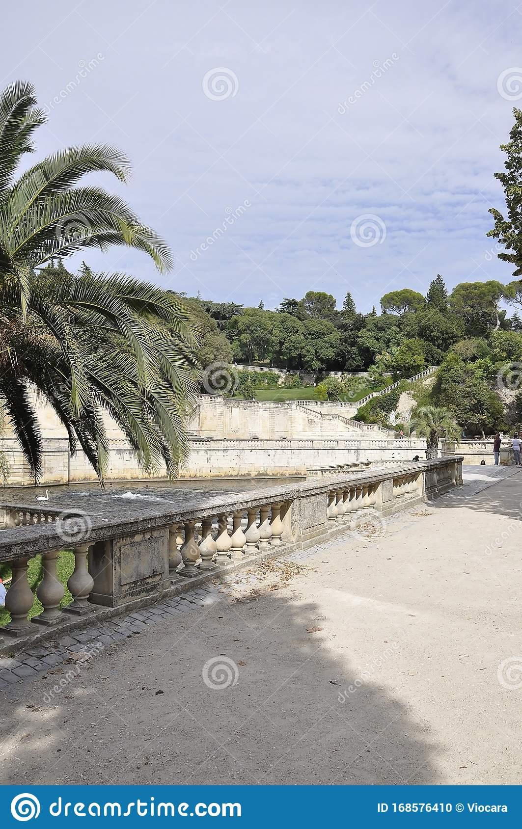 landscape source water canal jardin de la fontaine garden nimes south france th september landscape